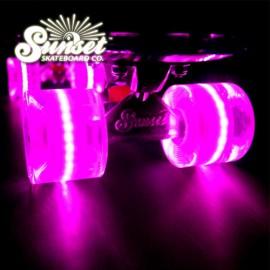 [SUNSET SKATEBOARD] Pink Flare Cruiser Skateboard Wheel 59mm x 45mm ABEC 9 Bearings (4개=1세트)